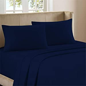 """Purity Home Pure Organic Cotton Navy Percale Bed Sheet Set, 4 Piece Full Size Sheets, Moisture Wicking, Lightweight, Crisp Cool, Highly Breathable & Durable, Fits Upto 18"""" Deep Pocket"""