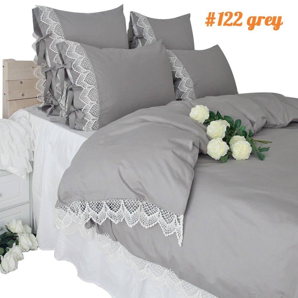 女王の家 布団カバー3点セットグレー ベットカバーセット 綿100% 姫系 キングサイズ 手作りリボン付き 寝具カバーセット B07F676RSZ キング|グレー グレー キング