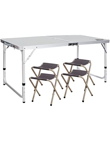 b2bf6fb1eda REDCAMP Aluminum Folding Table 3 4 6 Foot with Metal Stools