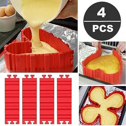 Moldes de silicona antiadherentes para hornear (4 piezas) con diseño de corazón, mariposa