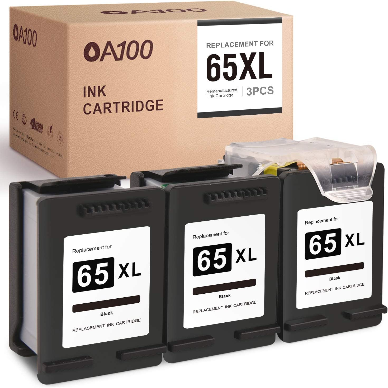 OA100 Remanufactured Ink Cartridges Replacement for HP 65XL 65 XL for Envy 5055 5052 5010 5030 DeskJet 3752 2622 3755 2652 2655 3758 3720 2630 3722 2624 (Black, 3-Pack)