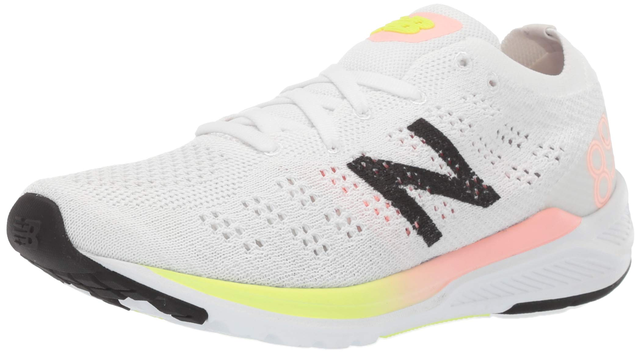 New Balance Women's 890v7 Running Shoe, White/Guava Bleached Lime GLO, 5 B US