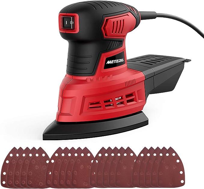 Lijadora Eléctrica, Meterk 200w 12500RPM Lijadora Orbital Mouse con Interruptor a Prueba de Polvo,20 Pcs Papeles de Lija (5x 60/80/120/240 Granos) y Caja de Recogida de Polvo: Amazon.es: Bricolaje y herramientas