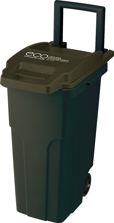 リス『キャスター付ゴミ箱』 コンテナスタイル2 キャスターペールCS2-45C2 45L 2輪 カーキー B005ES6LPQ カーキ カーキ