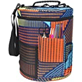 Knitting Bag For Yarn Storage Portable Crochet Yarn Ball Holder Light and Easy to Carry Pockets for Accessories and Slits on Top to Protect Yarn and Prevent Tangling