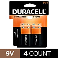 Duracell - CopperTop 9V Alkaline Batteries - long lasting, all-purpose 9 Volt battery for household and business - 4 count (packaging may vary)