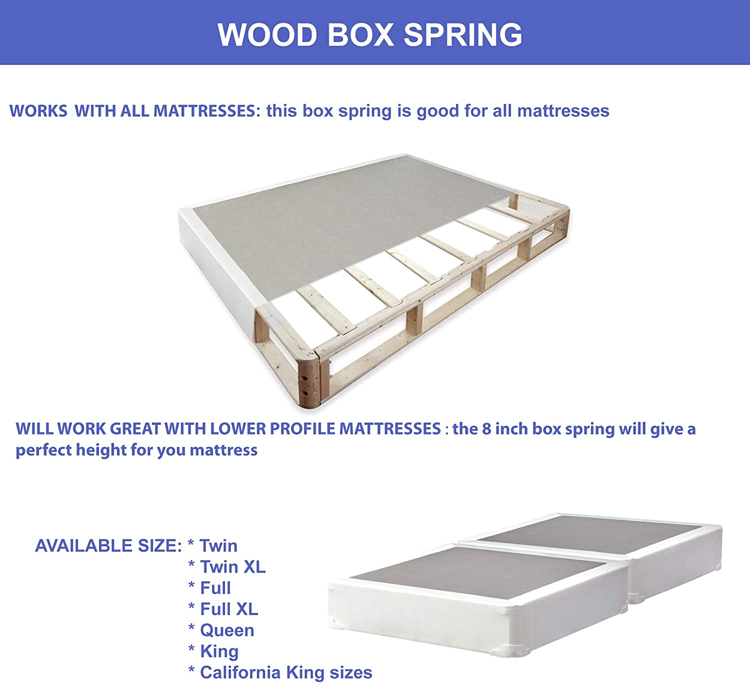 Twin Beige Greaton Assembled Split Wood Box Spring//Foundation For Mattress