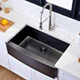 Hotis Modern Single Bowl 33 Inch Apron Front Black Stainless Steel Farmhouse Kitchen Sink,Undermount Black Curved Sink with A