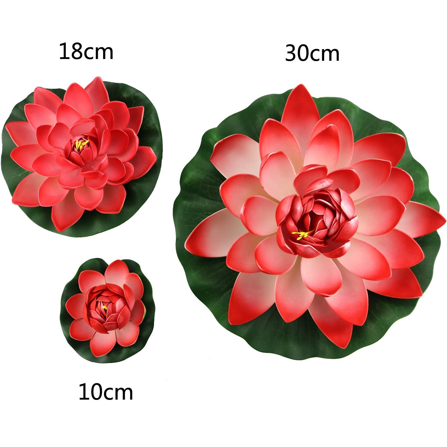 3PCS Set Red Artificial EVA Lotus Floating Water Lily Blooming Foam Flower Head Pool Fish Tank Pond Home Garden Decoration