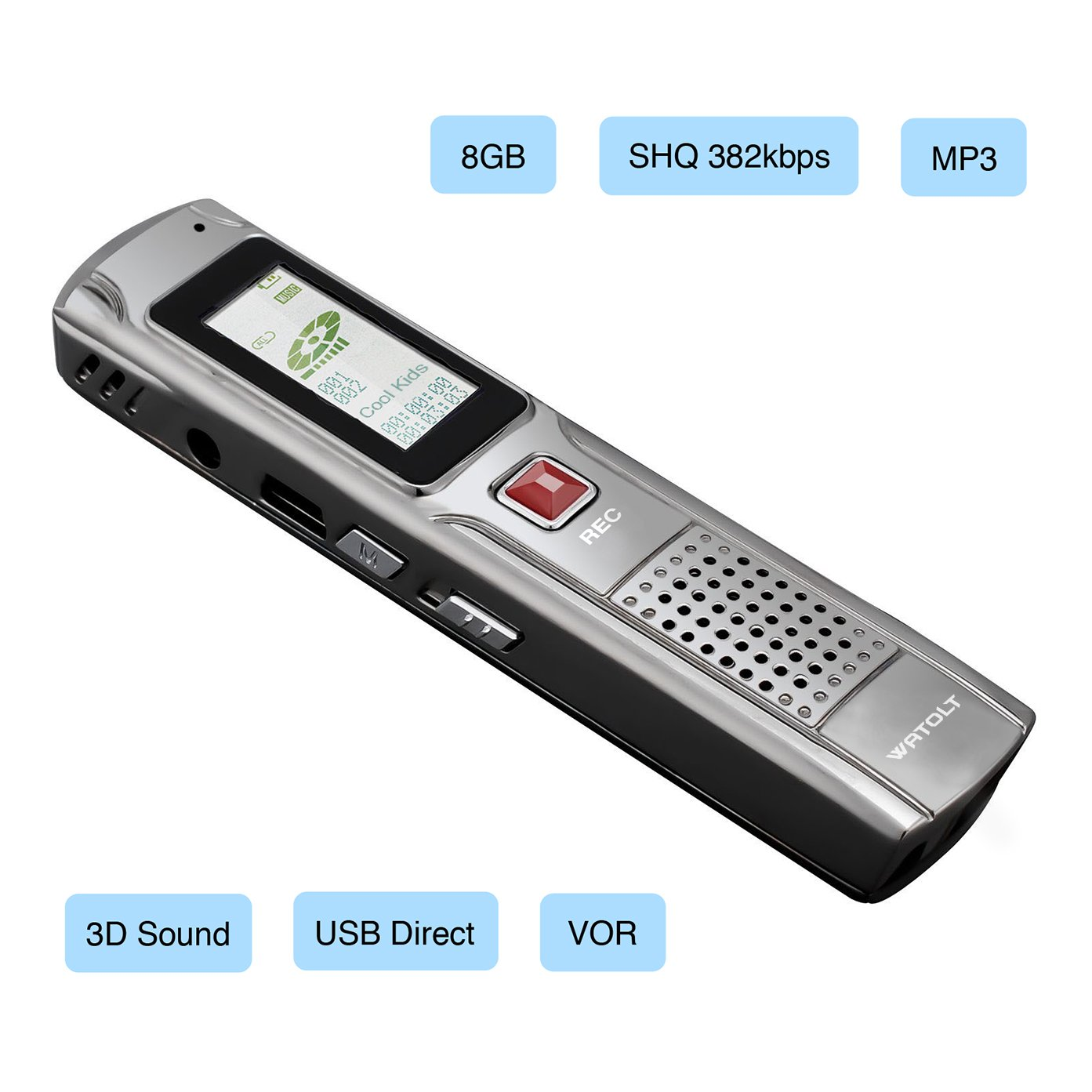 Digital Voice Recorder Rechargeable Dictaphone - MP3 Player - 25 Hours USB Audio Recordable Pen - for Students College Lectures (8GB) by Watolt (Image #3)