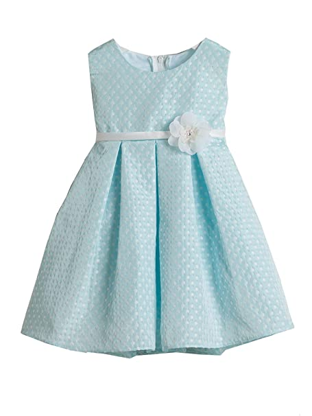 27b582a2c Sweet Kids Baby Girls Sky Blue Polka Dotted Jacquard Flower Girl Dress 12M