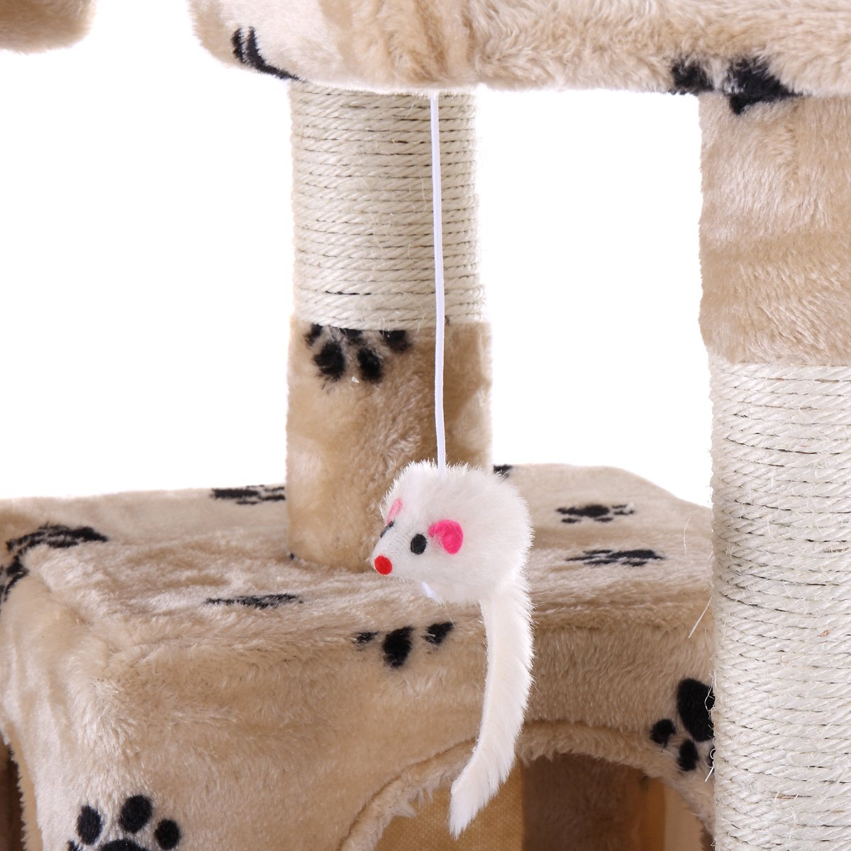 LAZYMOON 67'' Cat Tree 4-Tier Tower Condo Play House Furniture w/ Scratching posts and Toy Mouse Beige with Footprint by LAZYMOON (Image #9)