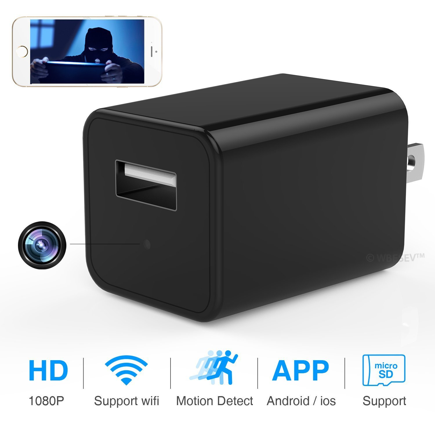 Wi-Fi Wall Charger Camera, Heymoko HD Remote View USB Wall AC Plug Charger Camera Nanny Cam Motion Detection Wireless IP Security Home Security Nanny Cam Plug Security Cam Android iOS Free App