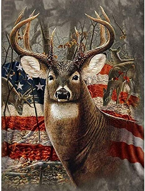 YOMIA Deer Cross Stitch Patterns 5D DIY Crystal Diamond Painting Stitch Kit American Flag Pictures Rhinestone Diamond Chinese Embroidery Decorating Wall Paintings