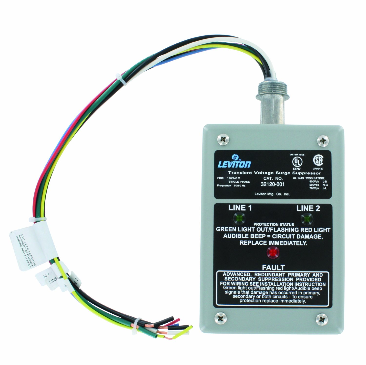 Leviton 32120 1 120 240 Volt Single Phase Surge Panel How To Repair A Damaged Electrical Wire Part 2 Dhc And X10 Compatible 80ka L N Max Current Home Improvement