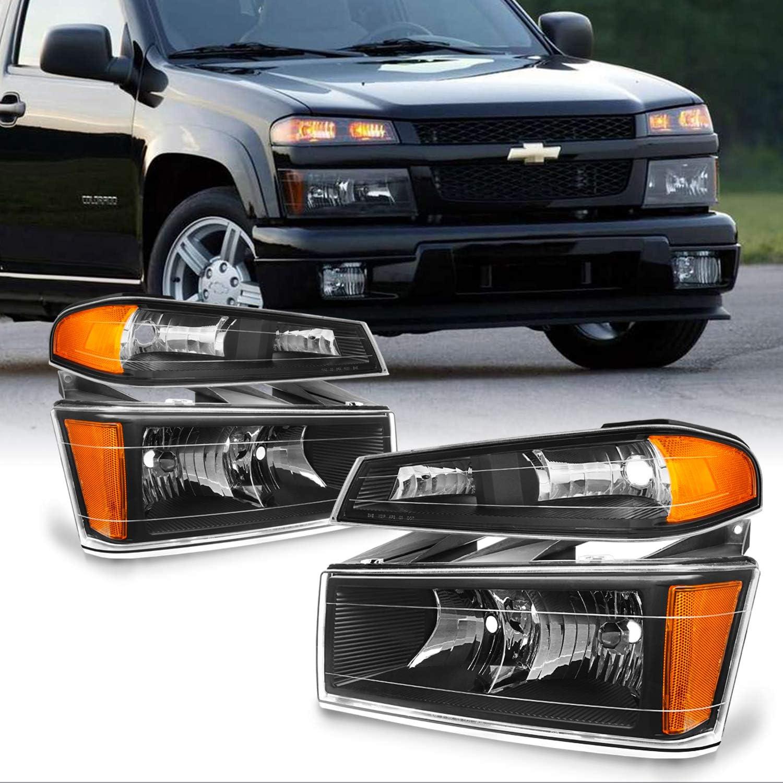 2004-2012 Chevy Colorado GMC Canyon Black Headlights+Corner Bumper Lamps Pair