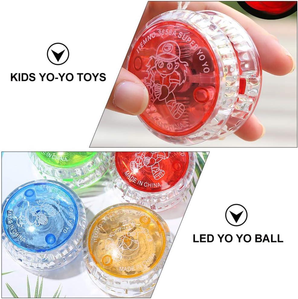 Random Colors TOYANDONA 5pcs LED Yoyo Toys Kids Yoyo Balls Light up Yoyo Children Responsive Ball Gifts for Beginners Birthday Party Supplies Favors