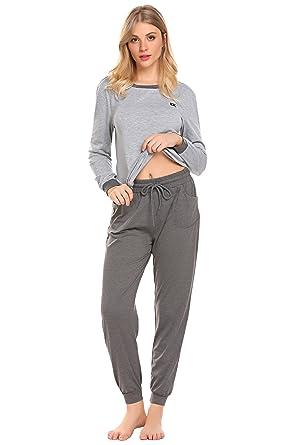 c15d487e72 Avidlove Damen Schlafanzug Ausgewählte Baumwolle Pyjama Top und Hose Set in  europäischen