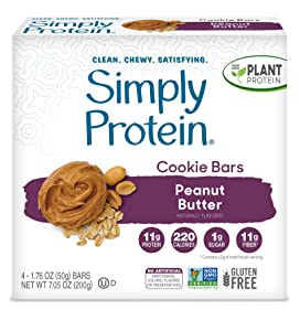 SimplyProtein Cookie Bars. Clean and Light Crispy Bars with Plant Based Protein. (Peanut Butter Cookie, 24 Pack)