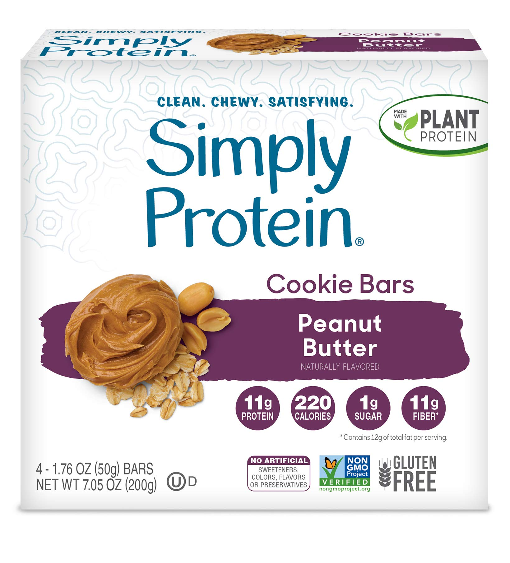 SimplyProtein Cookie Bars. Clean and Light Crispy Bars with Plant Based Protein. (Peanut Butter Cookie, 8 Pack)