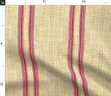 Vintage Tela - sintética lino textura Vintage grano saco francés Ticking rayas por joanmclemore - Vintage tela con spoonflower - impreso en una variedad de ...