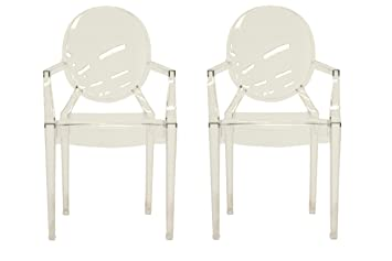 amazon com baxton studio set of 2 vico clear acrylic arm chair