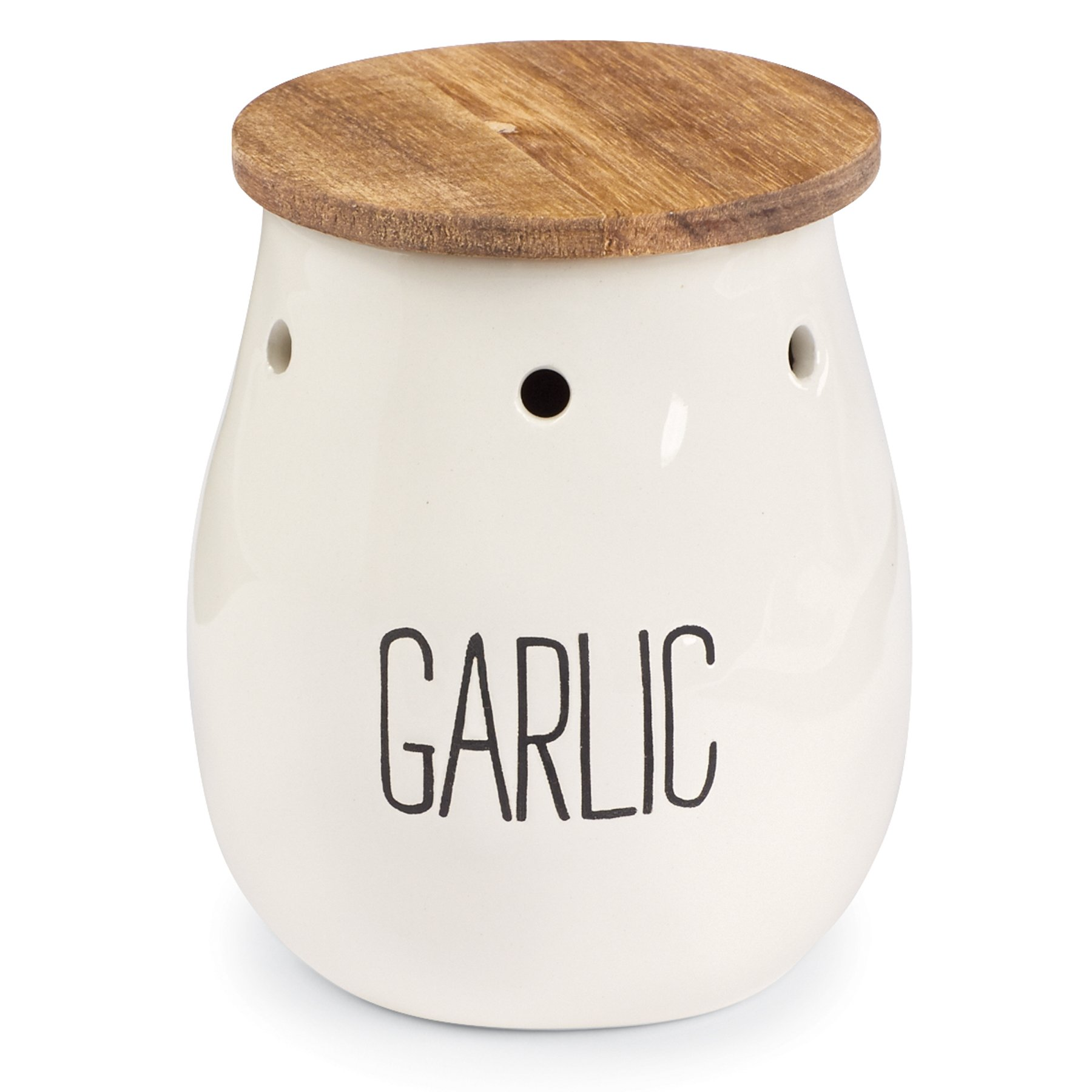 Mud Pie Ceramic Garlic Storage Keeper, White