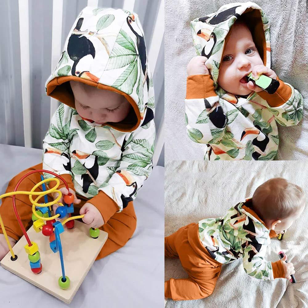 Babykleidung Satz LANSKIRT S/äugling Baby Strampler Jungen M/ädchen Langarm Animal Print Tops Hosen Outfits Kleidung