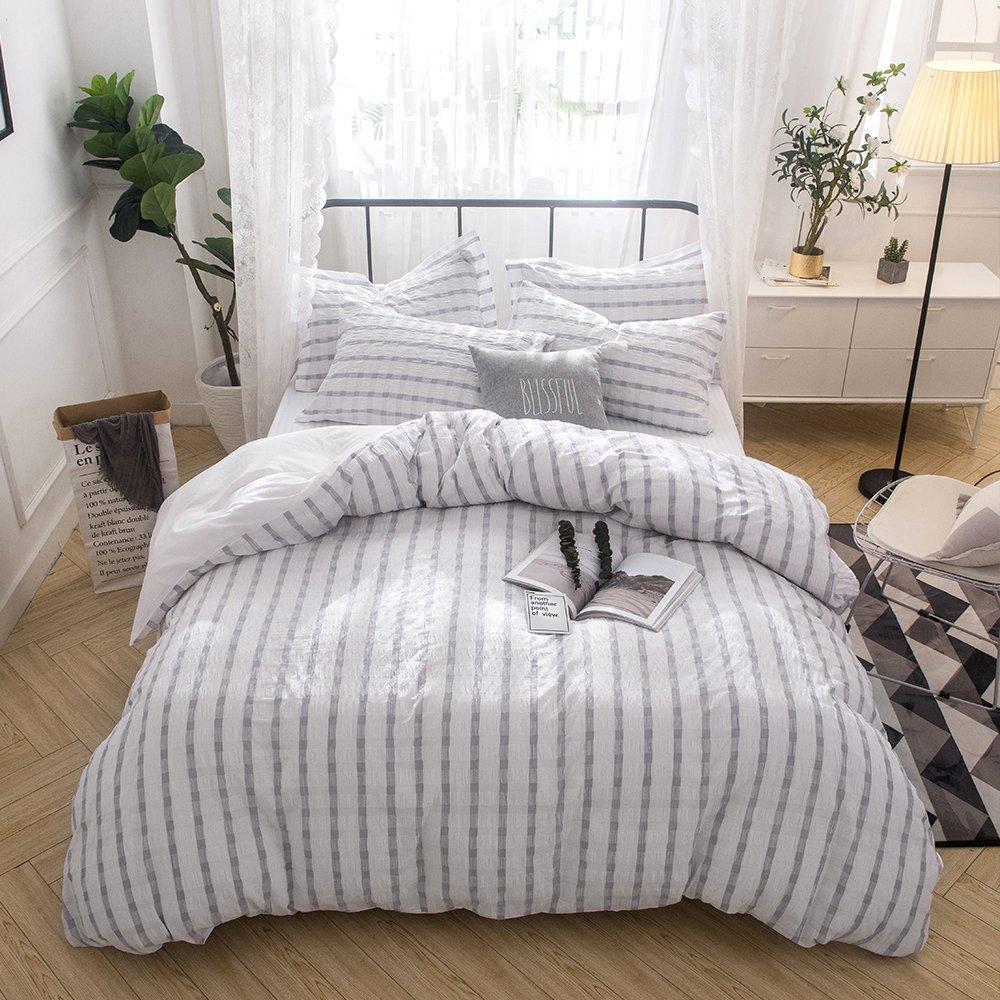 merryfeel seersucker 100 cotton yarn dyed duvet cover set fullqueen grey
