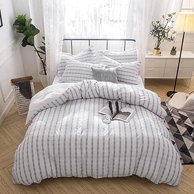 Lausonhouse Cotton Duvet Cover Set,100% Cotton Woven Seersucker Duvet Cover Set, Cotton Yarn Dyed Striped Bedding Set - King -Gray