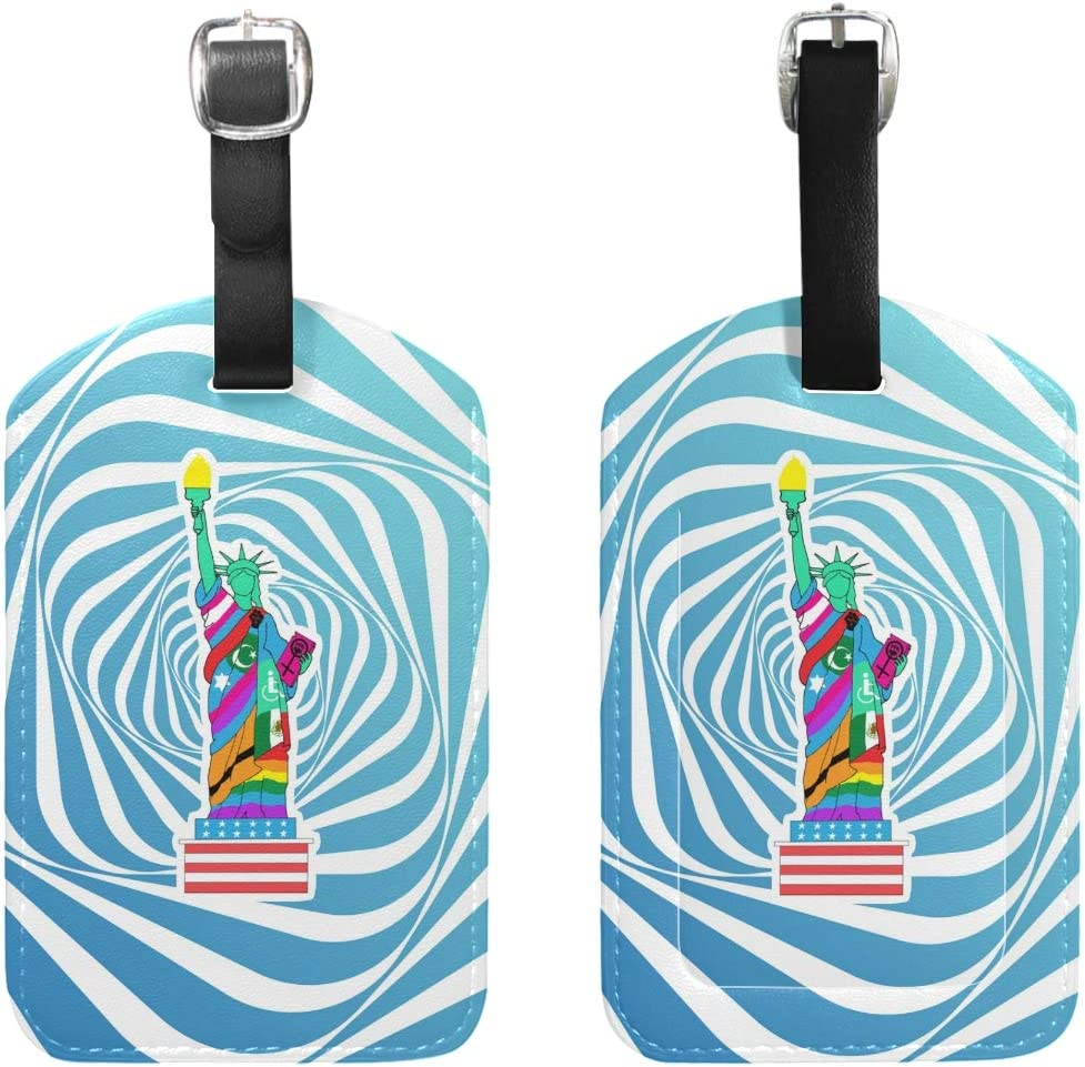 Set of 1 Travel Liberty For All Leather Luggage Tags with Black Strap