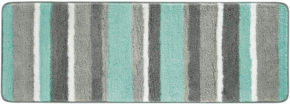 """mDesign Soft Microfiber Polyester Non-Slip Extra-Long Spa Mat/Runner, Plush Water Absorbent Accent Rug for Bathroom Vanity, Bathtub/Shower, Machine Washable - Striped Design, 60"""" x 21"""" - Mint/Gray"""