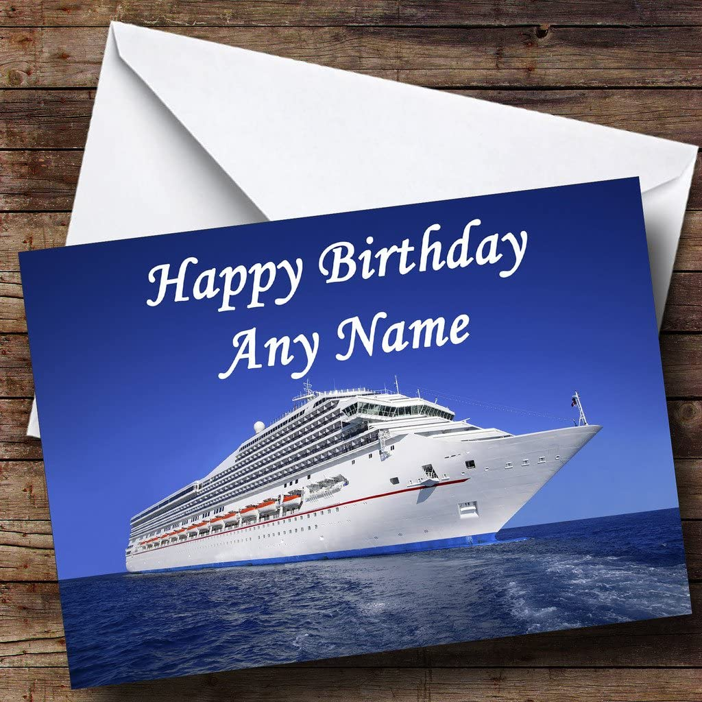Cruise Ship Personalised Birthday Greetings Card