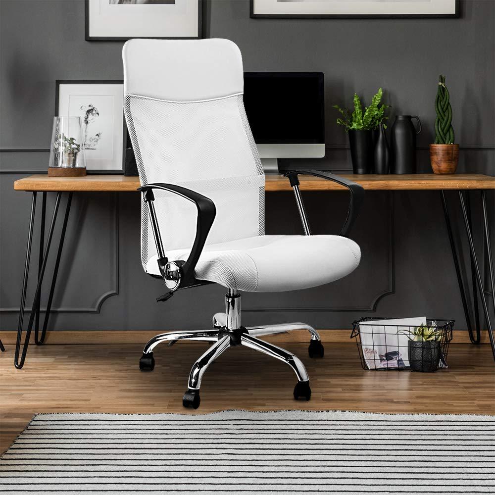 Deuba Silla de Oficina Color Blanco | ergonómica | posa Brazos | regulación automática de Altura | Respaldo ergonómico | Malla Transpirable | Medidas: ...