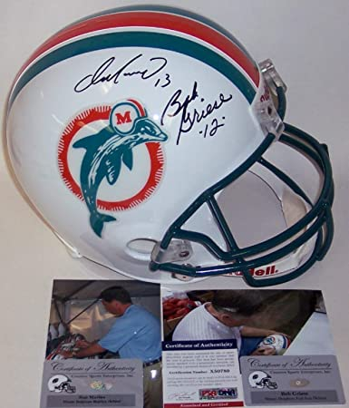 Amazon.com  Dan Marino and Bob Griese Autographed Hand Signed Miami  Dolphins Throwback Full Size Football Helmet - PSA DNA  Sports Collectibles 43751395d