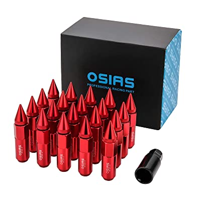 OSIAS Brand New 20PCS M12X1.5 Racing Wheel 60MM Lug Nuts with Socket Key for Honda Red: Industrial & Scientific