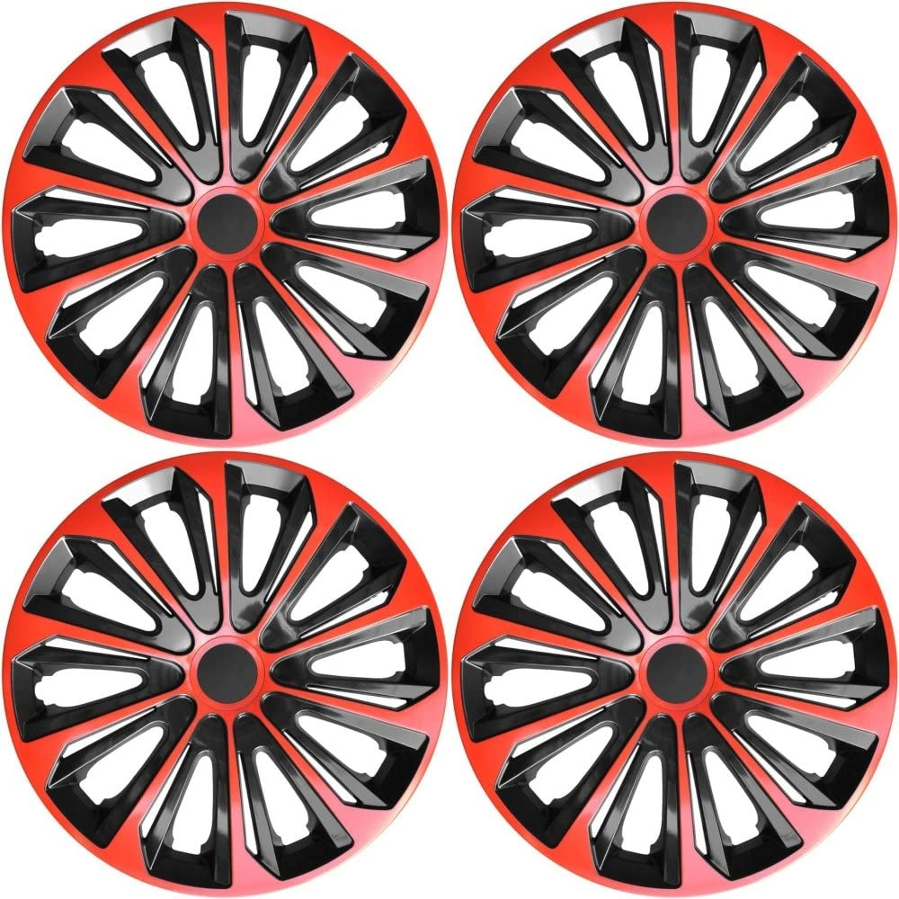 include istruzioni per il montaggio Set 4/Copricerchi 15/Rosso Copricerchi Copricerchio 15/pollici nero rosso STRONG 15 nuovo /& IN CONFEZIONE ORIGINALE Top Offerta.
