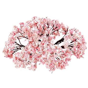 25 St/ück Landschaft Landschaftsmodell Blumen B/äume 6.5cm Rosa