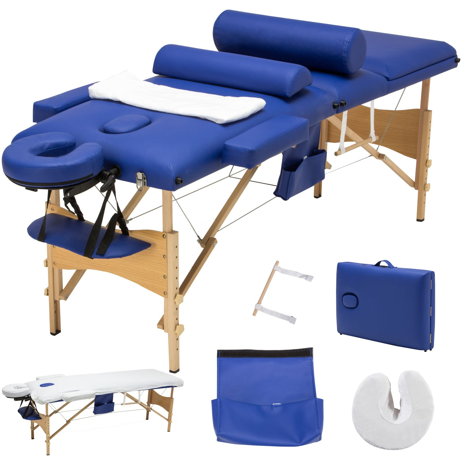 Murtisol Folding Massage Table 84'' Professional Massage Bed Luxury-Model With Carrying Bag & Additional Accessories Blue