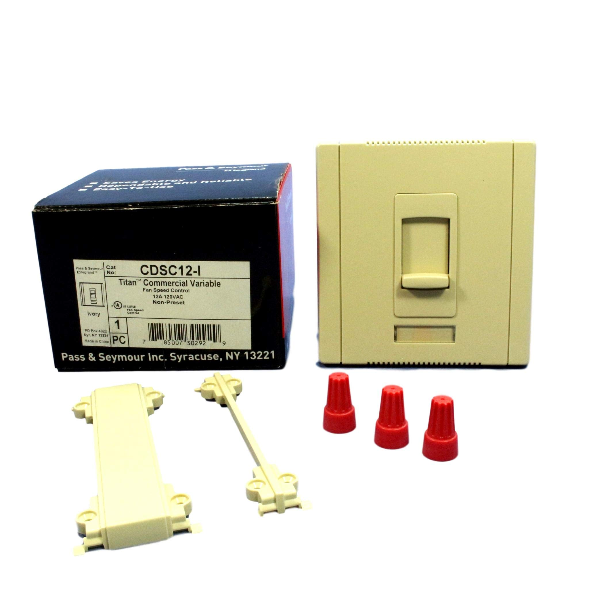 Pass & Seymour CDSC12-I Ivory 12A 120V Single Pole Titan Series Fan Speed Control