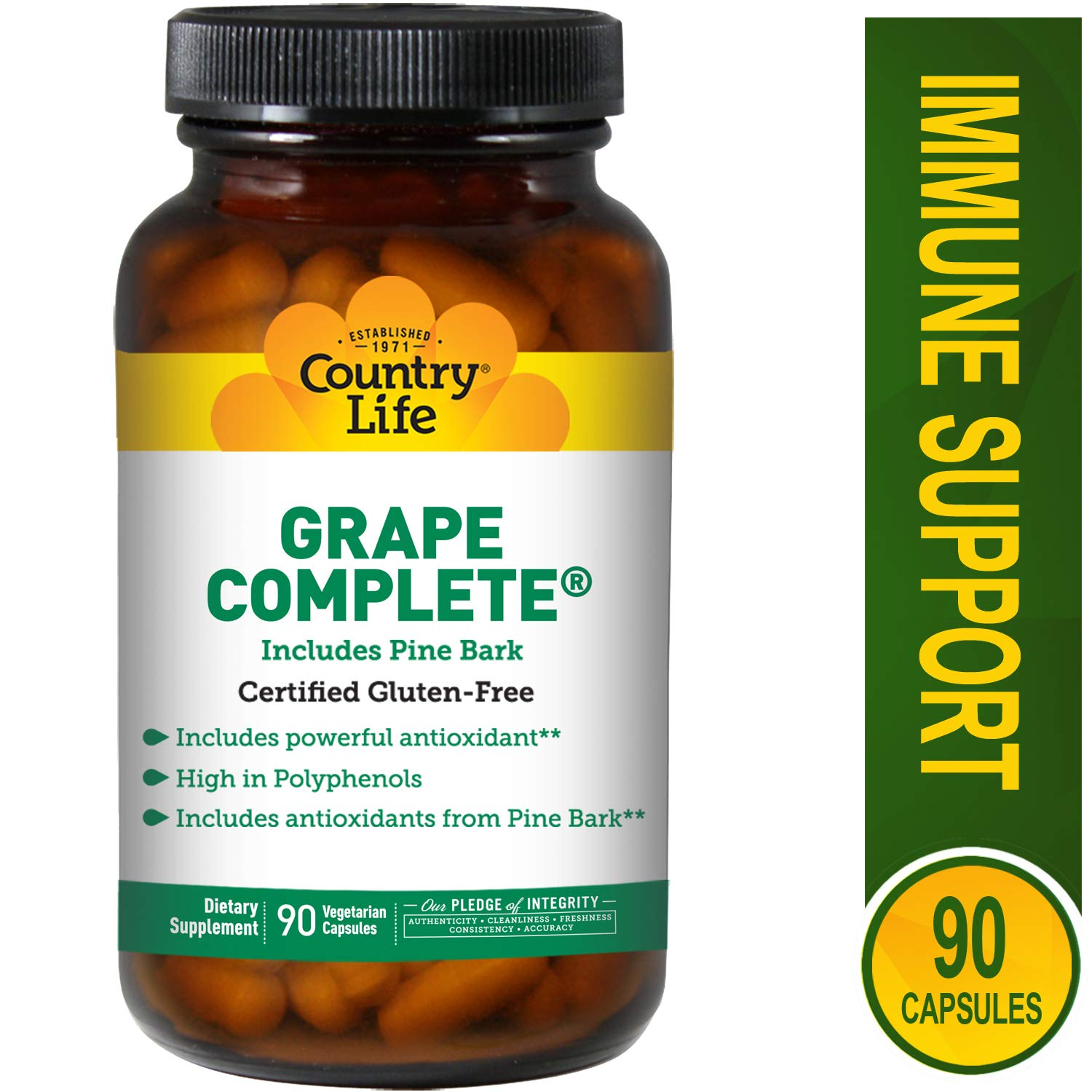 Country Life - Grape Complete with Pine Bark - 90 Vegetarian Capsules