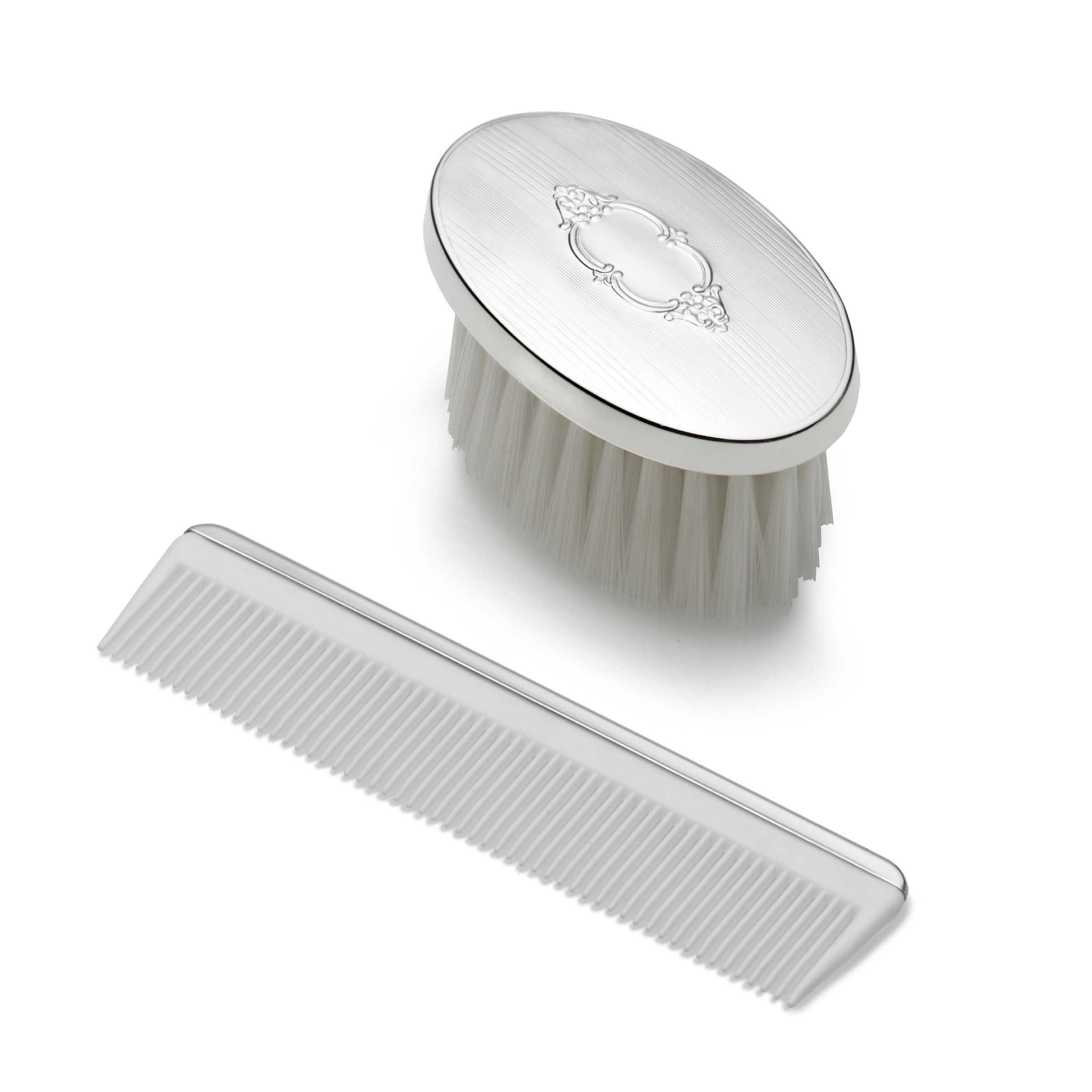 EMPIRE Boys Shield Design Oval Sterling Brush by EMPIRE