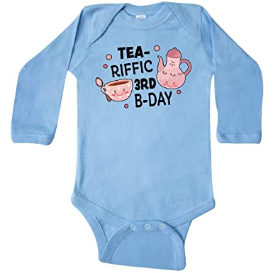 inktastic Tea-riffic 3rd Birthday with Teacup and Toddler Long Sleeve T-Shirt Tees