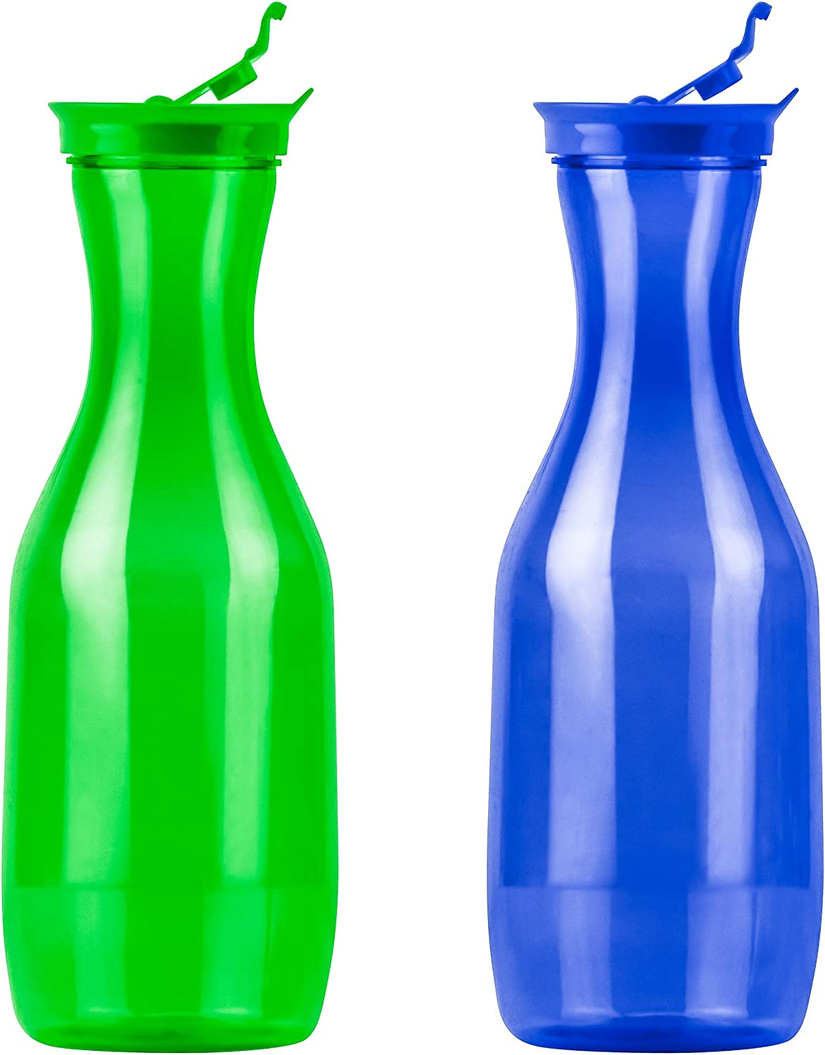 DecorRack 2 Large Water Carafes, Bottles with Flip Top Lid, 50 Oz Each, Plastic Juice Pitcher, Decanter, Jug, Serve Fridge Cold Iced Tea, for Outdoors, Picnic, Parties, Blue-Green (2 Pack)