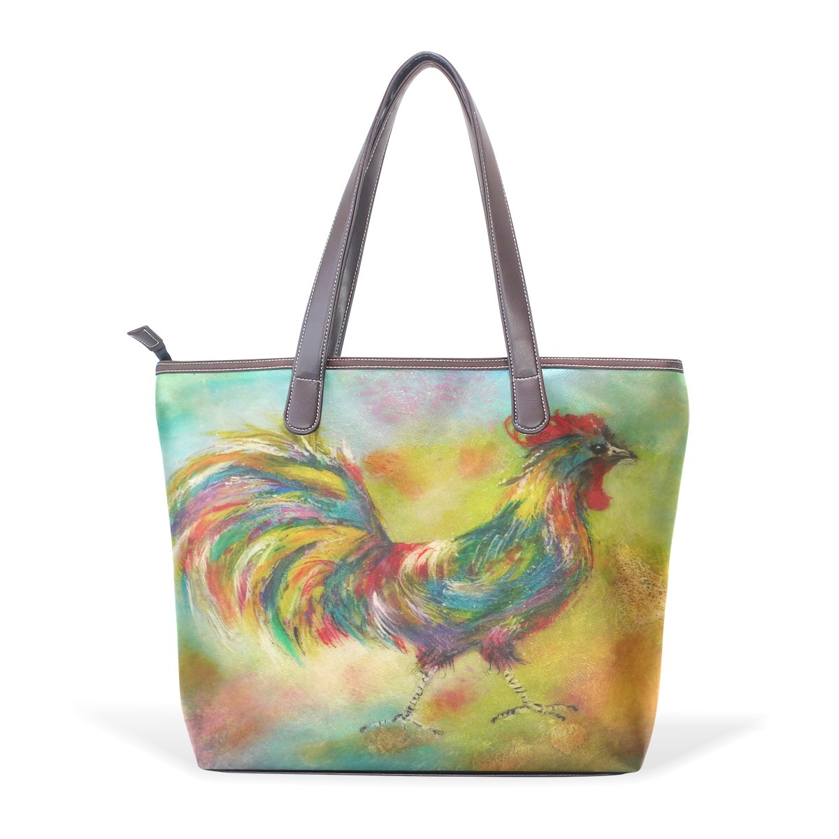 Ye Store Painting The Cock Lady PU Leather Handbag Tote Bag Shoulder Bag Shopping Bag