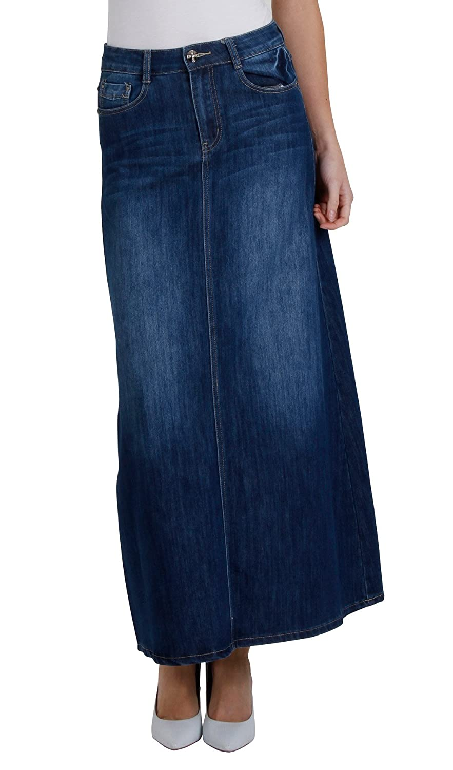 b73fcd12aed0 Cindy H Long Stonewash Denim Skirt SKIRT68 Womens Maxi Skirt Full Length Denim  Skirt at Amazon Women s Clothing store