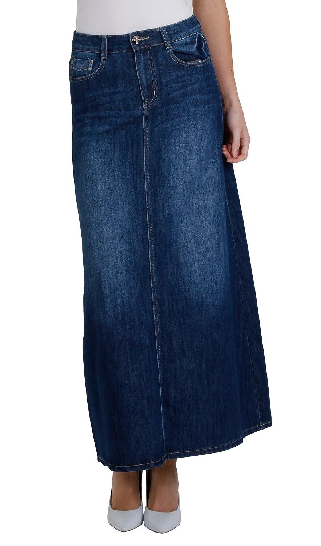 Amazon Womens Full Length Denim Skirt Ladies Maxi Long 68 Clothing