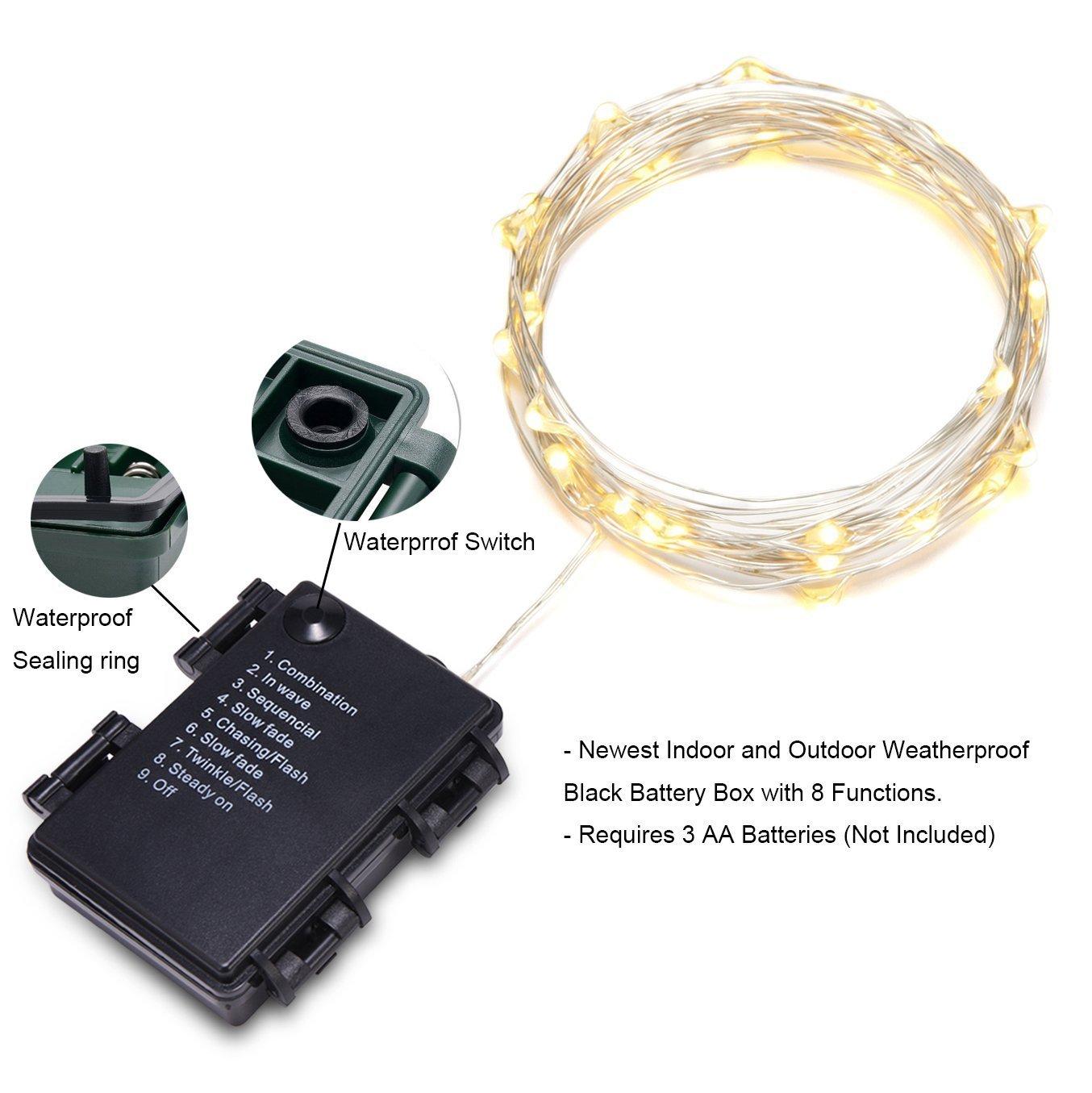 30er LED Draht, Micro Lichterkette Batterie-betrieben Mit Timer für ...