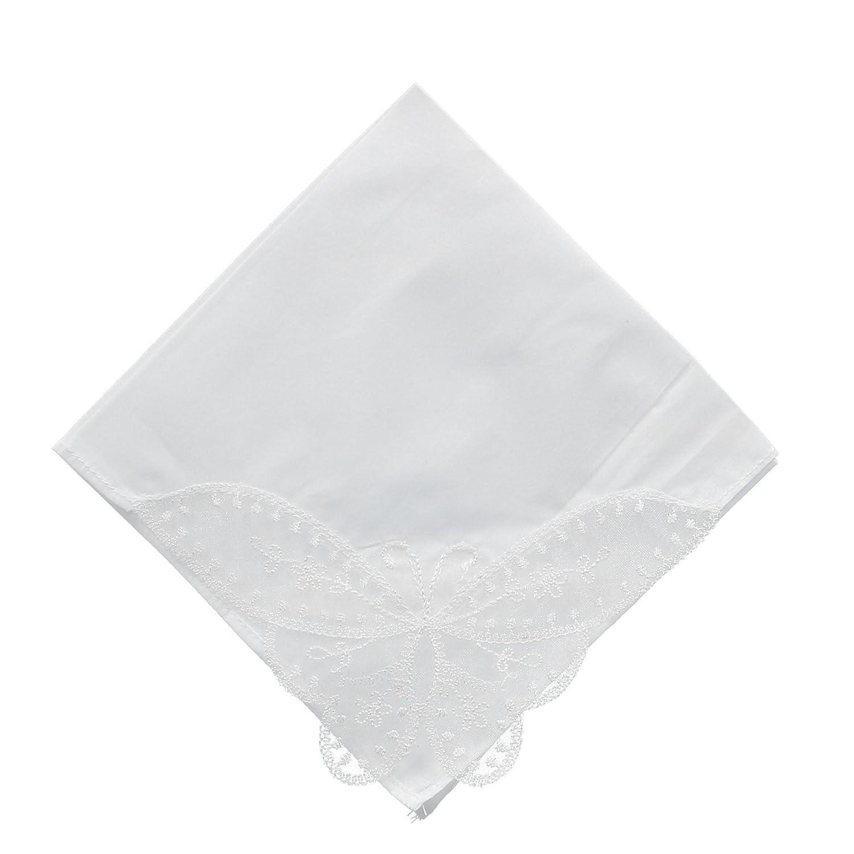 CTM Women's Butterfly Corner Lace Handkerchief, White WO-05BTF100-WHT