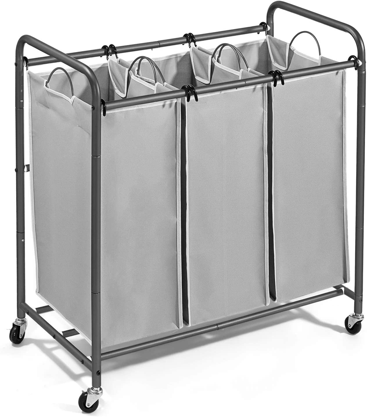 JustRoomy Mobile 3-Bag Heavy-Duty Laundry Hamper Sorter Laundry Organizer Cart Basket with Rolling Lockable Wheels Casters Tall Handles for Household Clothes Storage, Silver Gray